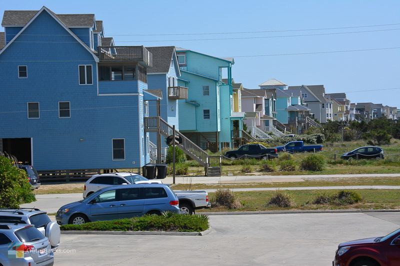 Colorful homes line the beach in Avon NC
