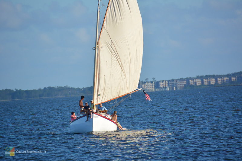 Friends sailing in Roanoke Sound