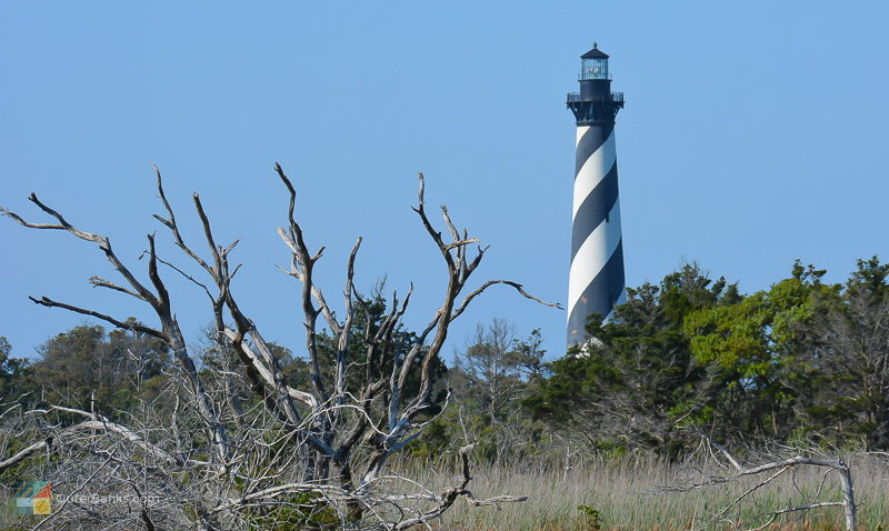 Cape Hatteras Lighthouse is visible from Cape Point and the beach