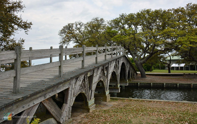 A footbridge over an inlet at Historic Corolla Park