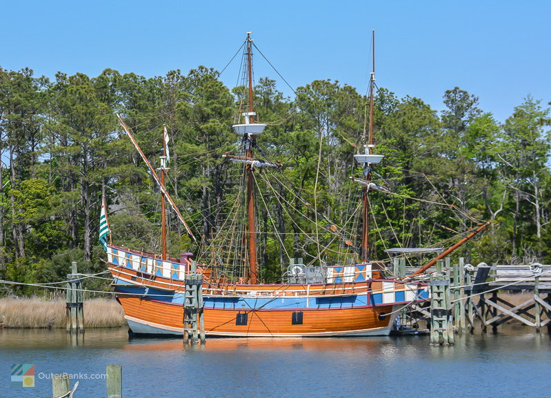 The Elizabeth II moored close to the Manteo downtown waterfront