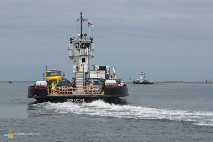 Ferries come and go from Hatteras Inlet