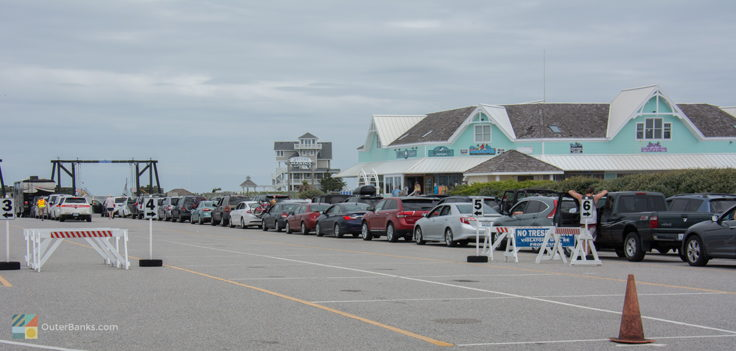 The line for the Hatteras-Ocracoke ferry in Summer
