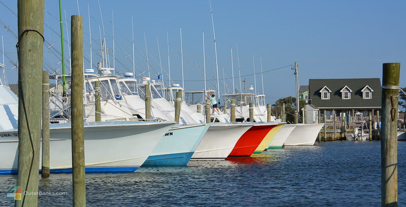 Fishing boats line marina docks in Hatteras NC