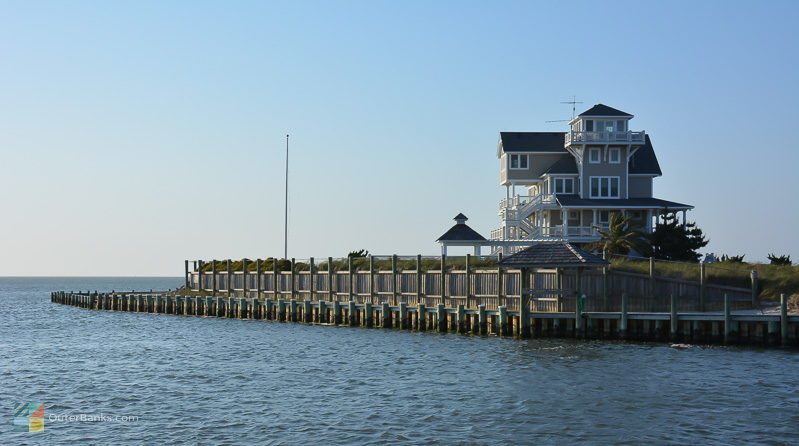A home faces the Pamlico Sound in Hatteras