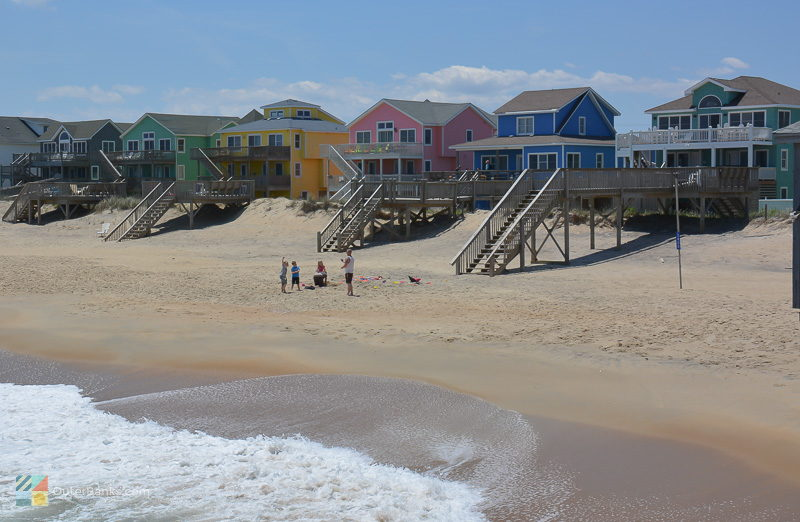 Colorful homes line the beach in Kill Devil Hills
