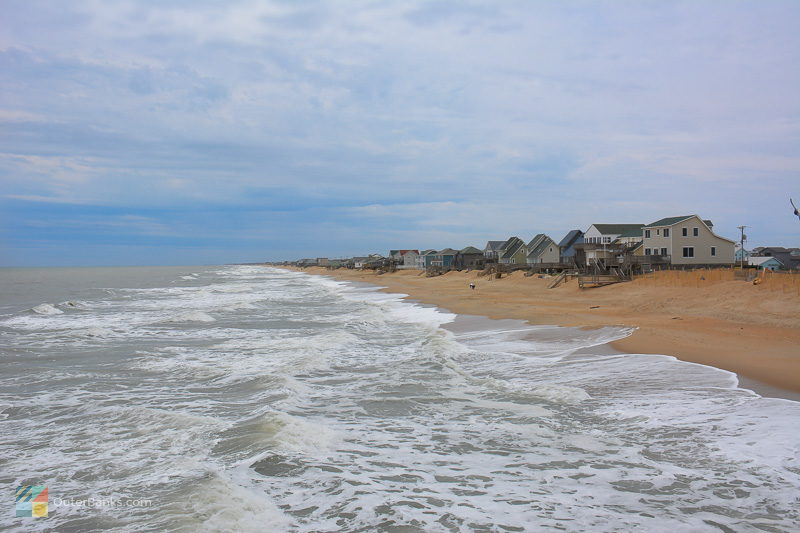 Rental homes line the beach in Kitty Hawk