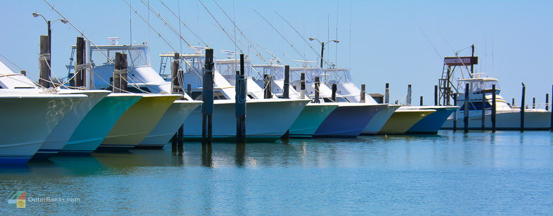 Fishing boats lined up at Oregon Inlet Fishing Center