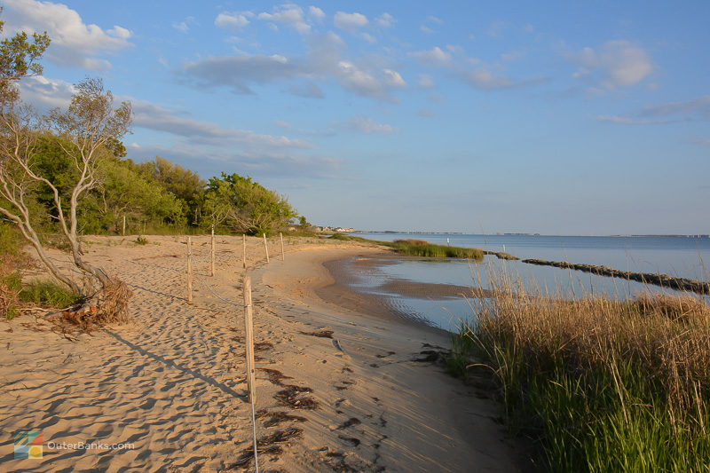 Strolling along the Roanoke Sound at Jockey's Ridge State Park
