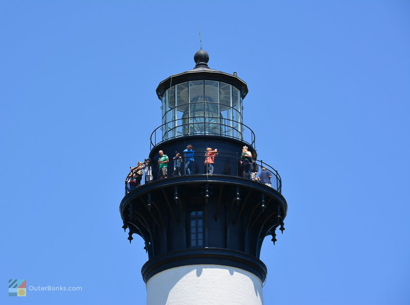 Climbers admire the view from the top of Bodie Island Lighthouse