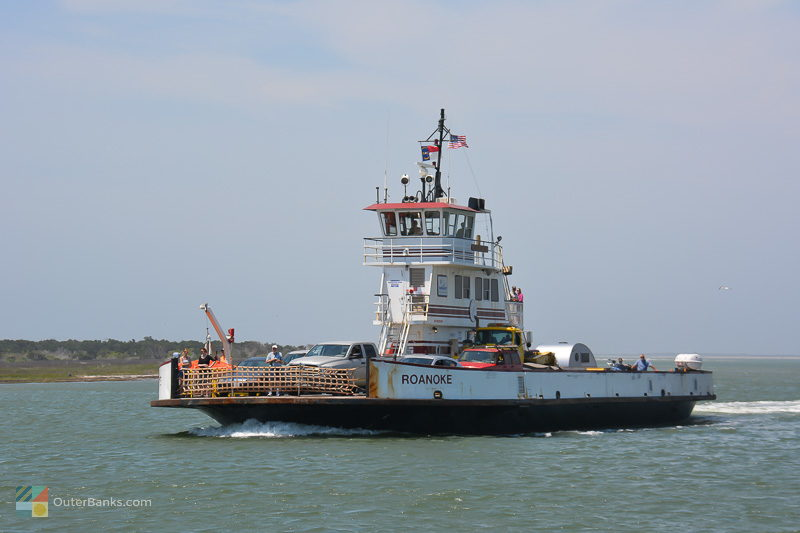 An NCDOT ferry heads out of Ocracoke