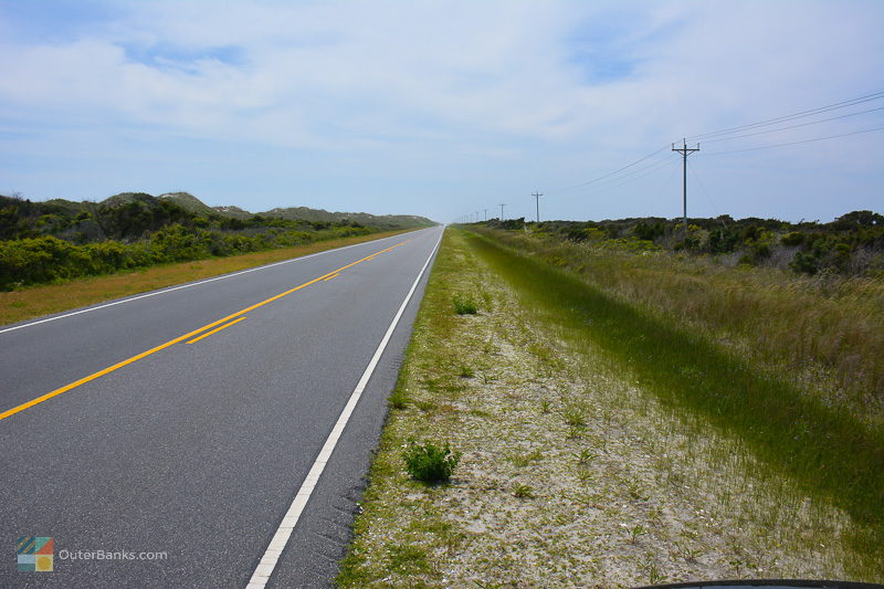 NC12 heading South on Ocracoke Island
