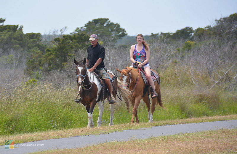 Horse riding along NC12 in Ocracoke