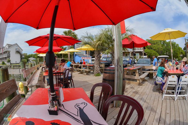 Many restaurants along the shore of Silver Lake in Ocracoke