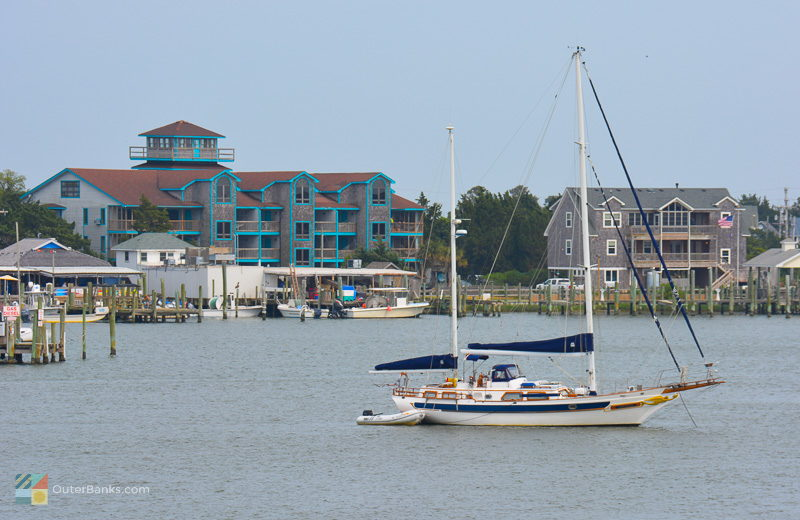 Silver Lake in the center of Ocracoke Village