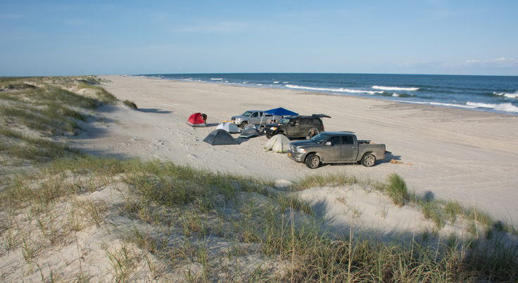 Beach camping on Portsmouth Island