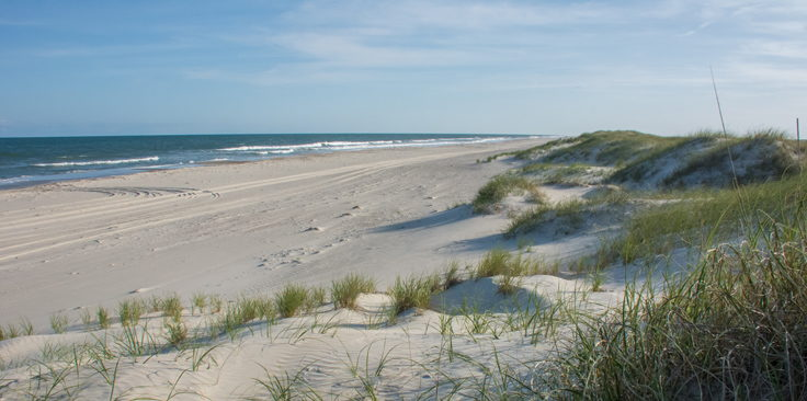 The beach on Portsmouth Island