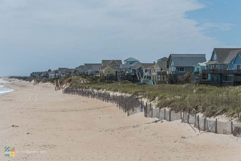 Homes line the beach in Avon, NC