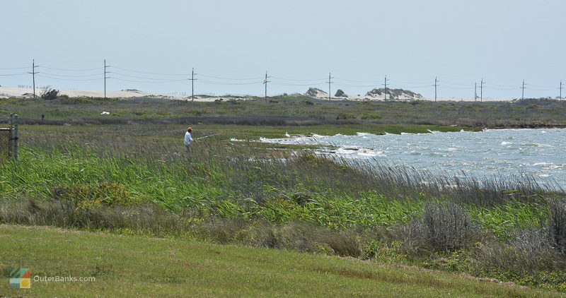 Fishing in the beautiful Pea Island Wildlife Refuge
