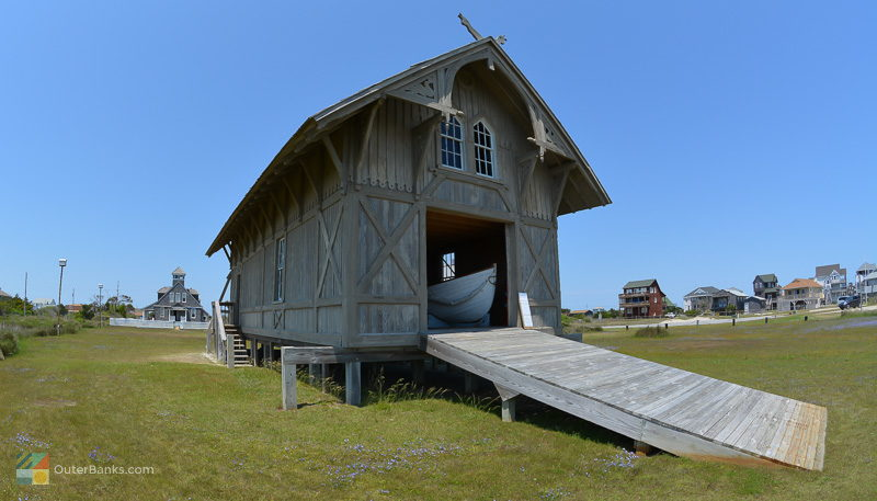 The Chicamacomico Lifesaving Station exhibits include a historic boathouse