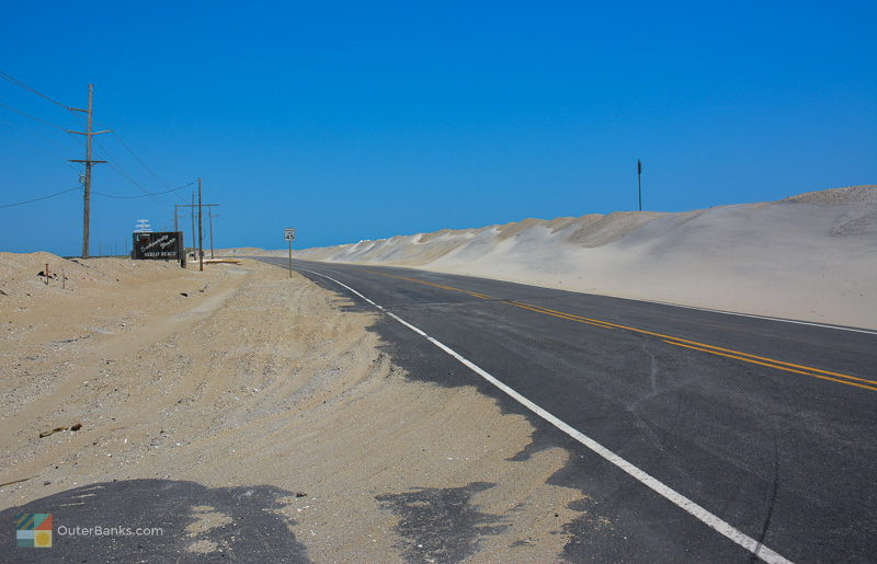 Man-made dunes protect NC 12 from the Atlantic Ocean