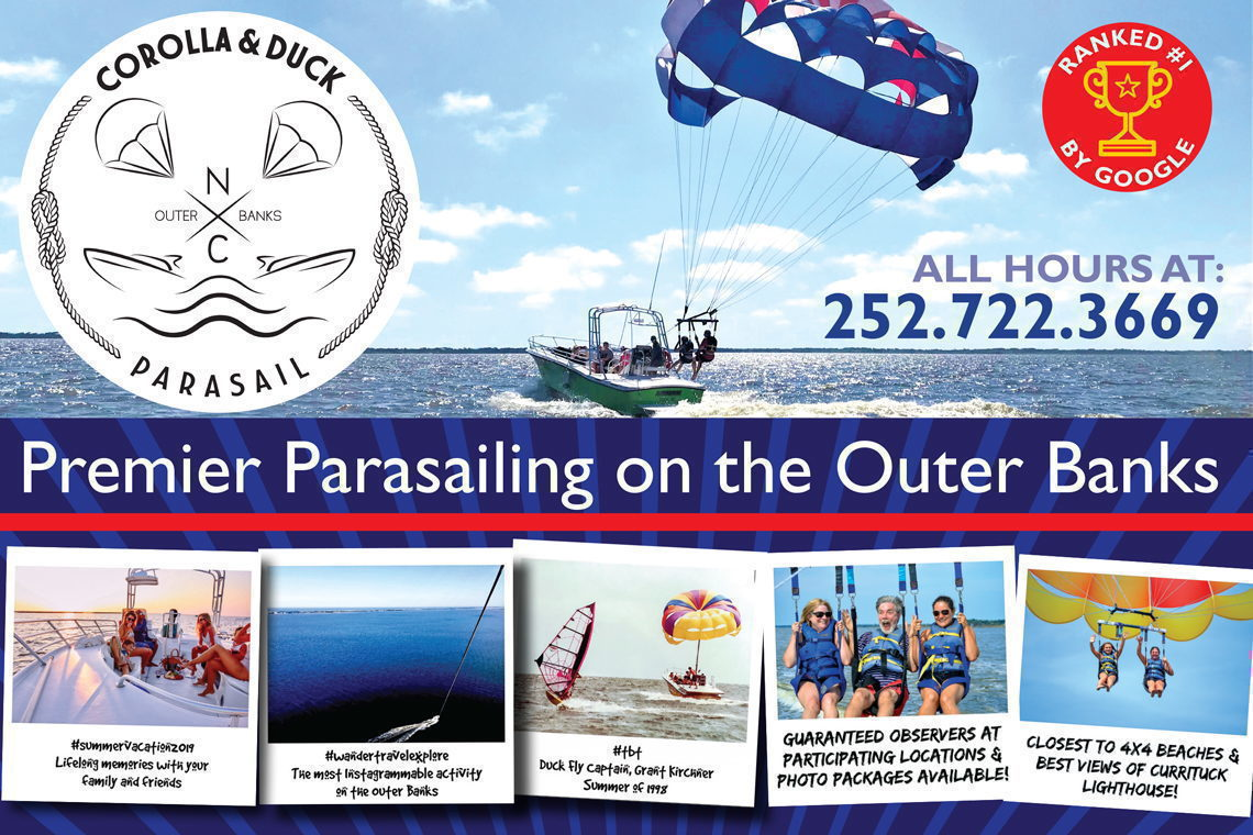 $15 OFF PARASAILING Sat–Tue or 1st Boat Wed–Fri. Code: FLY