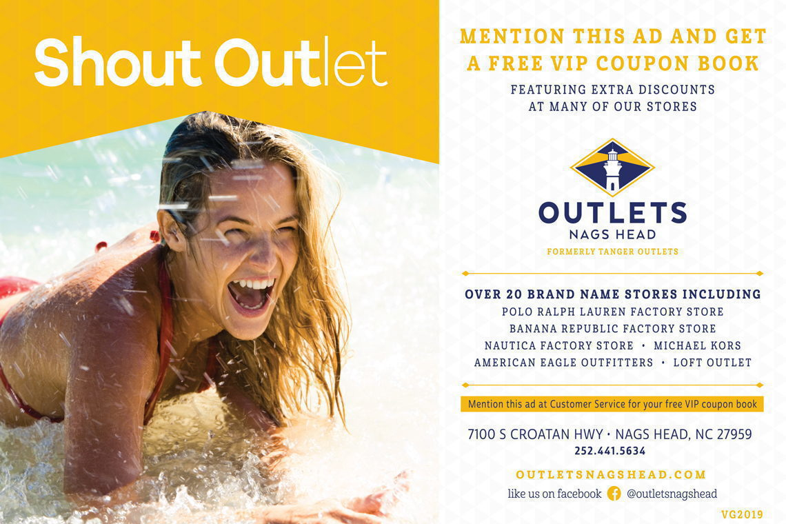 FREE VIP COUPON BOOK Show this offer at Outlets Nags Head.