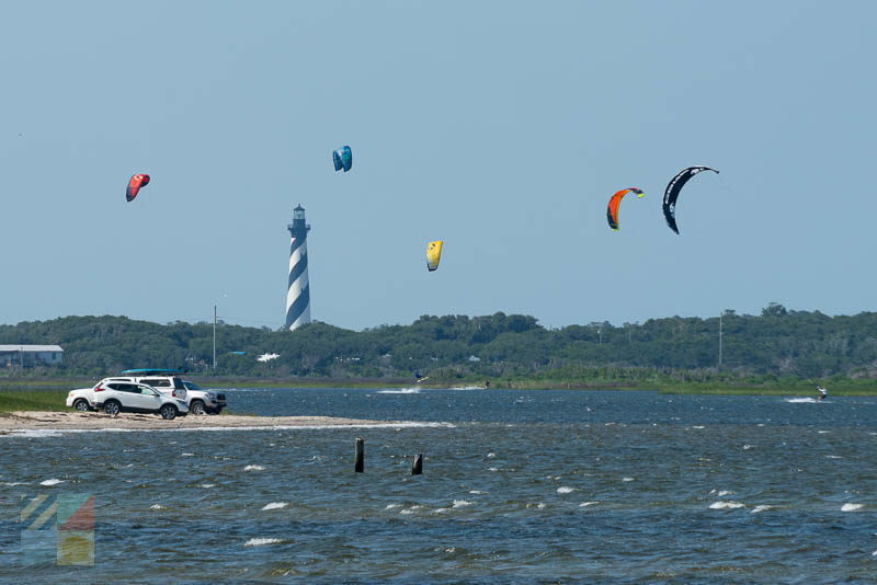 Kiteboarding in the sound along Cape Hatteras National Seashore