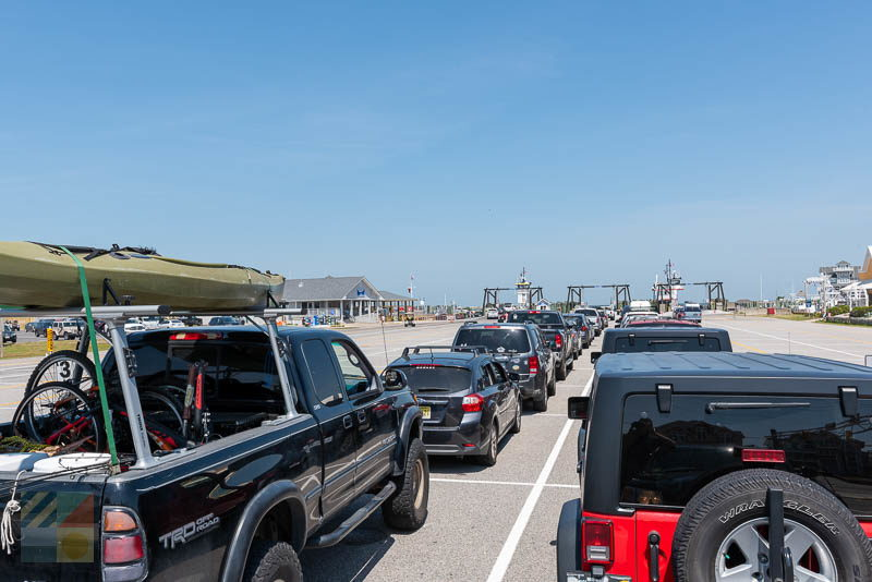 A line to board the Hatteras Ocracoke ferry moves quickly during the Summer when all ferries are running.