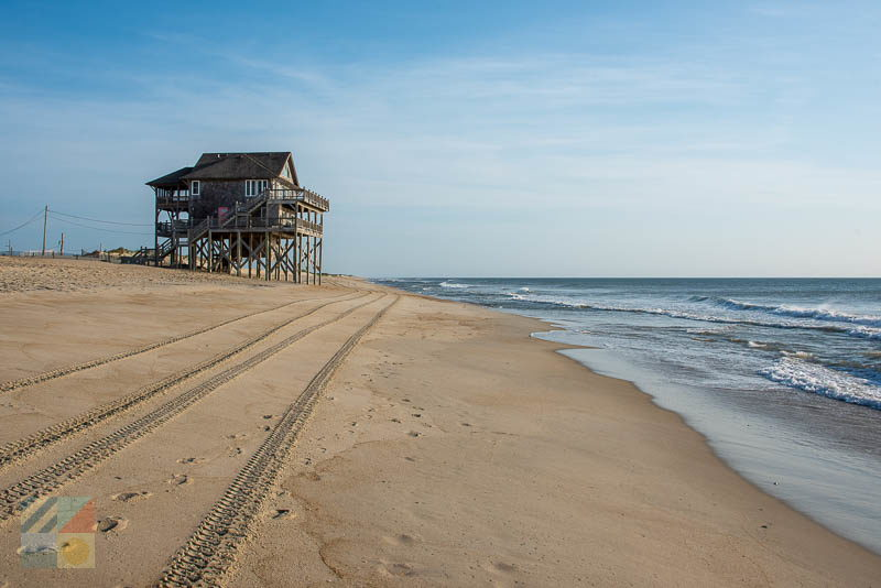 A house sits near the shoreline in Rodanthe NC