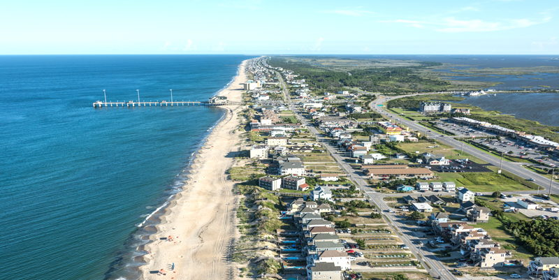 Homes and shopping in Nags Head, NC