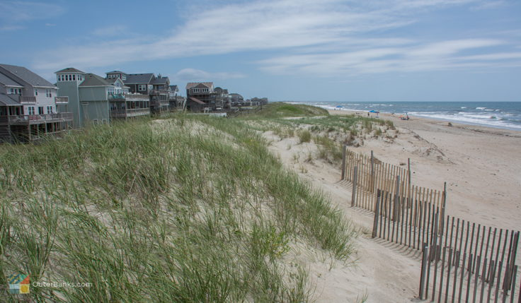 Homes line the dunes in Hatteras Village, NC